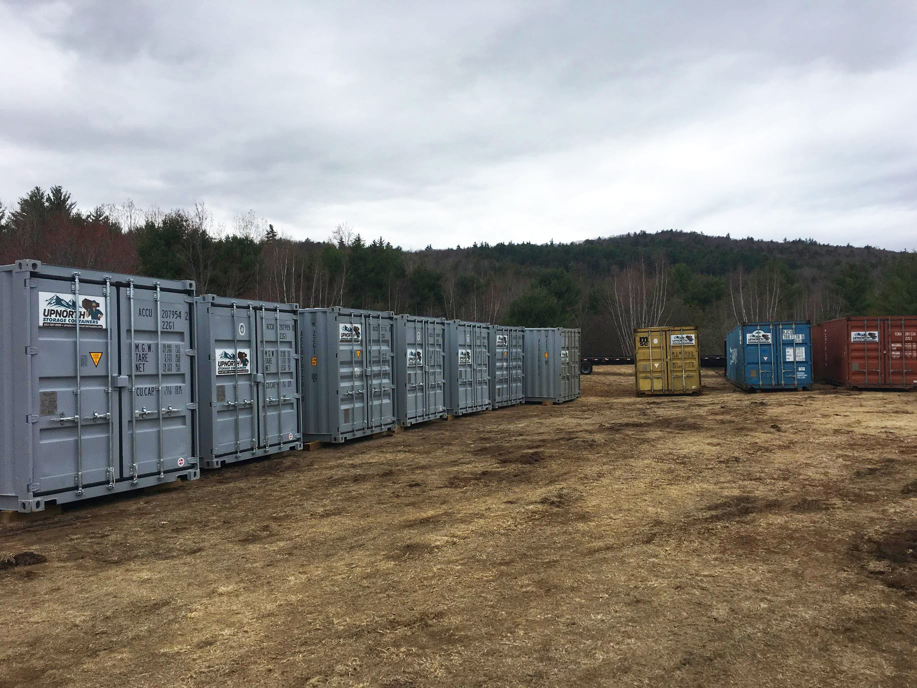 A lot full of shipping containers for sale in New Hampshire.